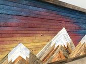 Rustic Mountain Wood Wall Art with Sunset Skies