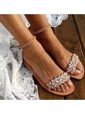 Boheemse platte enkelband Peep Toe Date Travel Bruiloft platte sandalen Bohemen …   – uncategorized