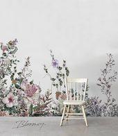 Abnehmbare Tapete – Feld Blumen Wandbilder – abnehmbare Tapete – Wandaufkleber – zeitgenössische Tapete – Aquarell – Aufkleber – Dekor