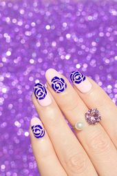 Effortless Purple Roses Nail Art [Nails of the Day]