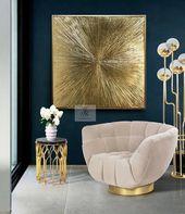 Blattgold-Kunst, große Wandkunst, abstrakte Malerei, Gold Malerei Textur Wandkunst, Original Gemälde auf Leinwand moderne Kunst von Julia Kotenko