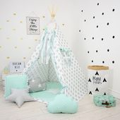 Teepee Set Youngsters Play Tente Tipi Child Play Teepee Youngster Teepee Wigwam Zelt Tente KIDS lampe glow READING SPOT with gentle – Mint Breeze