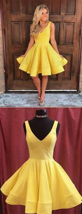 Cheap yellow stain homecoming dresses,simple a line knee length party dress, v neck evening dress