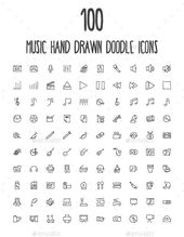 100 music hand drawn doodle icons, #doodle #drawn #icons #music – #devices