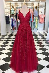 Burgundy v neck tulle lace long prom dress, burgundy tulle evening dress