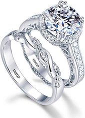 New AndreAngel White Gold Plated 18Okay three Microns Thickness Over Sterling Silver Stable 925 Engagement Marriage ceremony Rings Set Girls 9 mm 2.5 Carats Cubic Zirconia 5A Bridal Marriage Proposal Valentines on-line – Amazingtrendyus