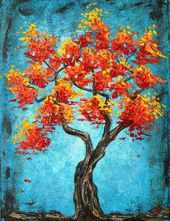 Red Orange Tree of Life Print  – Art