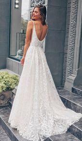 Princess White Long Brautkleid Mit Schleppe, White Long Brautkleider Mit Schleppe, Open Back Brautkleider
