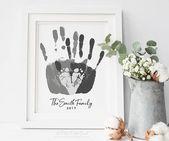 Personnalisé Portrait de famille, empreinte de la main et empreinte Art familial, cadeau pour nouveau papa, première fête des pères, les pieds de votre enfant, 8×10 in UNFRAMED   – Kinder