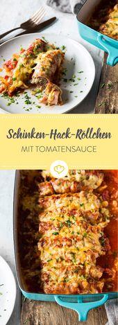 Schinken-Hackfleisch-Röllchen in Tomatensauce   – Rezepte mit Fleisch