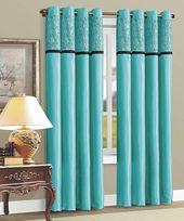Schauen Sie sich dieses Teal Zebra Flocked Curtain Panel an – Set of Two von Beatrice Ho …   – HOME SWEET HOME