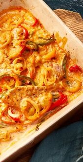 Escalope de pimentón y crema del horno   – Hauptgericht