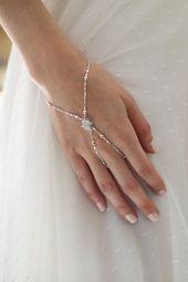 Silber Braut Sklave Armband, Sklave Armband, Hand Kette, Hand Armband, Braut Armband, Braut Ring Armband, Kristall Sklave Armband   – Kysha (cheetah Queen)