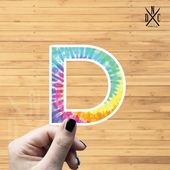 "Letter ""D"" Tie Dye Vinyl Sticker, Best Friend Gift, Laptop Decals, Name Stickers, Monogram, Macbook"