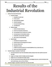 Outcomes of the Industrial Revolution – Free Printable Define for Grades 7-12