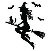 The Beautiful Silhouette Of A Witch On A Broom Witch Silhouette Witch Clipart Halloween Silhouettes