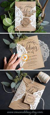 Vintage bruiloft uitnodigingssjabloon, rustieke bruiloft uitnodigingsset, afdrukbare bruiloft…