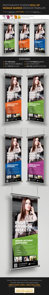 Photography Fashion Roll Up Banner Signage — Vector EPS #shoot roll up signage...
