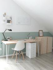 Home Office im Scandi-Look ♡ #scandi #hairpinlegs #h…
