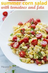 Summer Corn Salad with Tomatoes and Feta! A simple summer side made with fresh c…