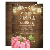 Baby Shower invite Little Pumpkin Fall wood rustic – Zazzle