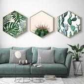 Home Hexagon Green Plant painting, Plant Framed art, Christmas gift, living room decor, gift for her, home decor, gift for women,wall art