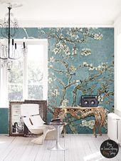 Kirschblüte Tapeten, Vintage Malerei, gemalte Wandbilder, abnehmbare Tapete, schälen und Stick, Wandkunst # 47 – wohnen