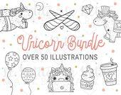 Unicorn Digital Stamp Bundle, Kawaii Unicorn Clipart Bundle, Unicorn Clip Art Images, Cute Unicorn I