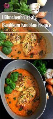 Frango / peito de frango com manjericão e alho   – Food and drink