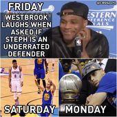 Haha, ich fand es toll, wie Curry Westbrook dazu brachte, wie ein Idiot auszusehen, weil er ihn ausgelacht hatte.   – Sporting