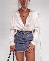 Satin blouse | White blouse | Denim skirt | Necklace | Red nail polish | Blonde …