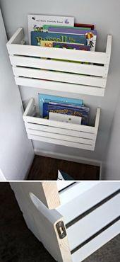 DIY Kiste Bücherregale. Schneiden Sie die Holzkisten in zwei Hälften, …   – DIY projects