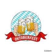 Two hands holding full glass of bear toasting. Oktoberfest munich beer festival concept. retro old style hand drawn with bavarian flag pattern and ribbon vector design. Logo, badge, sticker, icon. – Buy this stock vector and explore similar vectors at Adobe Stock