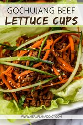 Gochujang Beef Lettuce Cups are a quick weeknight dinner, an easy prep ahead lun…