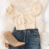 Brighter Days Beige Button-Front Crop Top