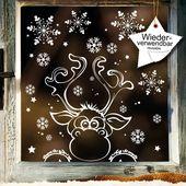 Fensterbild Weihnachten Elch Fensteraufkleber Schneeflocken WIEDERVERWENDBAR