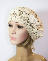 Lacy Crochet French Beret, Summer hat for women,Summer beret Cotton crochet hat – Products