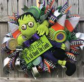 Halloween Wreath, Halloween Door Wreath, Halloween Front Door Wreath, Frankenstein Halloween Wreath, Halloween Decorations, Halloween Decor