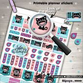 Printable Planner Stickers, Cat Stickers, Checklist Stickers, Flags Stickers, Kawaii Stickers, Cat, Stamp, Planner Accessories