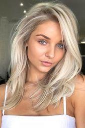 A loira platinada é uma das maiores tendências da indústria da moda e não #haircolor #hairstyle #hair #red penteados   – Haare