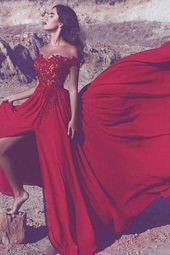 Red Party Dress Off Shoulder Sweetheart Prom Dresses with Split Side P964