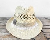 Straw ribbon hat, Fedora hat, straw hat, sun hats, beach hat, hats for women, boho hats, woman hats, fedora hats, summer hats, festival hat – NoamBoho