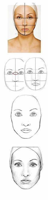 Mädchen malen ein Gesicht aus einem Foto nachzeichnen mit einem Schema zum Na – Alvina
