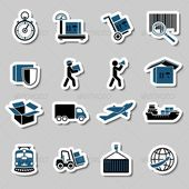 Logistic transportation services stickers collection of cargo shipping technology vector illustration. Editable EPS and Render in