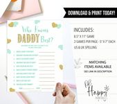 Baby Shower Songs Green Hearts Baby Shower, Who Knows Daddy Best Game, Printable Baby Shower Games, Gold Baby Shower G