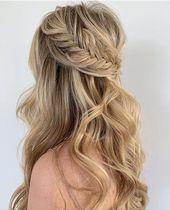 42 Gorgeous Wedding Hairstyles—elegant half up half down wedding hairstyles with natural curls and braids