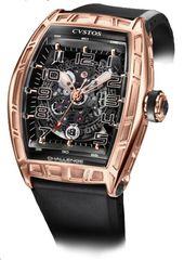 Cvstos Challenge Jet-Liner SL Men's Watch, Bicolor Red Gold 5N, Black Movement, Nitril Strap
