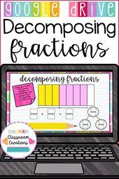 4th Grade Decomposing Fractions utilizing Visuals for Google Classroom 4.NF.B.3