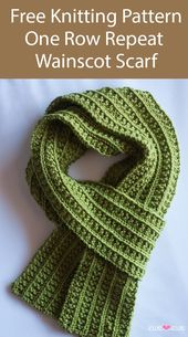Free Knitting Pattern for Easy One Row Repeat Wainscot Scarf