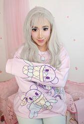 Bear Pastel Purple Pink Ice Cream Kawaii Harajuku JFashion Fairykei Sweater   – Kawaii Fashion